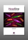 Plantilla del diseño de la cubierta con la mezcla de las bacterias Vector Imagenes de archivo