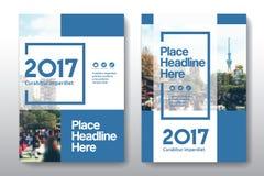 Plantilla del diseño de la cubierta de libro del negocio del fondo de la ciudad en A4 Imagenes de archivo