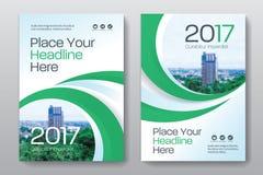 Plantilla del diseño de la cubierta de libro del negocio del fondo de la ciudad en A4 Imagen de archivo libre de regalías
