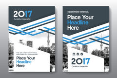 Plantilla del diseño de la cubierta de libro del negocio del fondo de la ciudad en A4 Fotos de archivo libres de regalías
