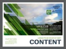 Plantilla del diseño de la disposición de la presentación del verdor Página de cubierta del informe anual Fotografía de archivo libre de regalías