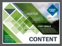 Plantilla del diseño de la disposición de la presentación del verdor Página de cubierta del informe anual Fotos de archivo libres de regalías