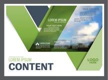 Plantilla del diseño de la disposición de la presentación del verdor Página de cubierta del informe anual Foto de archivo