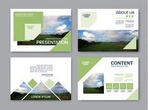 Plantilla del diseño de la disposición de la presentación del verdor Página de cubierta del informe anual Imágenes de archivo libres de regalías