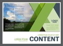 Plantilla del diseño de la disposición de la presentación del verdor Página de cubierta del informe anual Imagen de archivo libre de regalías