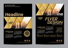Plantilla del diseño de la disposición del folleto del oro Fondo moderno de la presentación de la cubierta del prospecto del avia Imagen de archivo libre de regalías