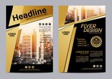 Plantilla del diseño de la disposición del folleto del oro Fondo moderno de la presentación de la cubierta del prospecto del avia Foto de archivo libre de regalías