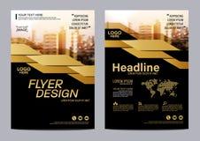 Plantilla del diseño de la disposición del folleto del oro Fondo moderno de la presentación de la cubierta del prospecto del avia Fotografía de archivo libre de regalías