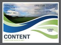Plantilla del diseño de la disposición de la presentación del verdor Página de cubierta del informe anual Foto de archivo libre de regalías