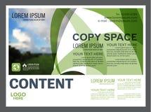 Plantilla del diseño de la disposición de la presentación del verdor Página de cubierta del informe anual Imagen de archivo