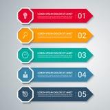 Plantilla del diseño de la flecha de Infographic con 5 opciones libre illustration