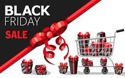 Plantilla del diseño de la inscripción de la venta de Black Friday Bandera negra de viernes Vector el cartel de la venta del ejem Imagen de archivo libre de regalías
