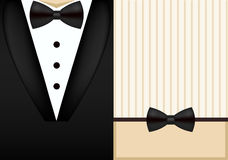 Plantilla del diseño de la invitación del smoking de la corbata de lazo del vector Fotos de archivo