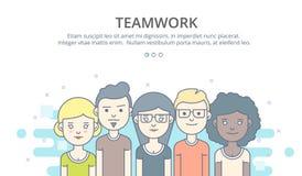 Plantilla del diseño de la página web del perfil de compañía, trabajo en equipo, flujo de trabajo del negocio corporativo, oportu foto de archivo