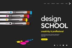Plantilla del diseño de la página web para la escuela del diseño, estudio, curso, clase, educación Concepto del ejemplo del vecto libre illustration