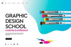 Plantilla del diseño de la página web para la escuela del diseño gráfico, estudio, curso, clase, educación Ejemplo del vector del stock de ilustración