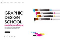 Plantilla del diseño de la página web para la escuela del diseño gráfico, estudio, curso, clase, educación Ejemplo del vector del libre illustration