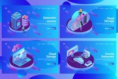 Plantilla del diseño de la página web para recibir y el centro de datos, la informática grande stock de ilustración