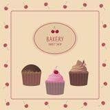 Plantilla del diseño de la panadería Tarjeta linda con las magdalenas Foto de archivo libre de regalías