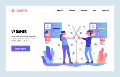 Plantilla del diseño de la pendiente del sitio web del vector VR virtual y juegos y usos aumentados de la realidad Conceptos de a stock de ilustración