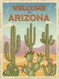 Plantilla del diseño de la recepción retra del cartel a Arizona Ejemplos de cactus salvajes libre illustration