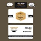 Plantilla del diseño de la tarjeta de visita de la peluquería de caballeros del salón de pelo Fotos de archivo