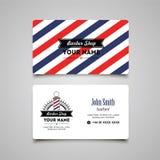 Plantilla del diseño de la tarjeta de visita de la peluquería de caballeros del salón de pelo Fotografía de archivo libre de regalías
