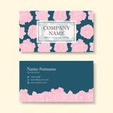 Plantilla del diseño de la tarjeta de visita del vector de la flor rosada Imágenes de archivo libres de regalías