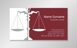Plantilla del diseño de la tarjeta de visita del abogado libre illustration