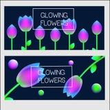 plantilla del diseño de las banderas Banderas del vector con las flores olográficas que brillan intensamente del neón Fotos de archivo libres de regalías