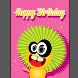 Plantilla del diseño de tarjeta del feliz cumpleaños del partido del monstruo Imagen de archivo