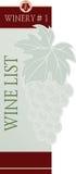 Plantilla del diseño de tarjeta del menú de la carta de vinos Imagen de archivo