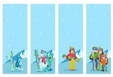 Plantilla del diseño del aviador del deporte de invierno del esquiador de la montaña Snowboard y esquí en los aviadores Ilustraci Fotos de archivo libres de regalías