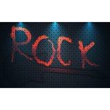 Plantilla del diseño del cartel del festival de la roca del vector con la guitarra Fondo del metal Foto de archivo libre de regalías