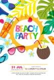 Plantilla del diseño del cartel del verano del vector del partido de la playa Sun, hojas de palma y ejemplo del garabato de los c ilustración del vector