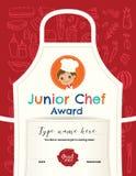 Plantilla del diseño del certificado de la clase de cocina de los niños ilustración del vector