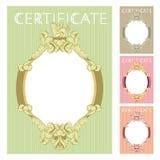 Plantilla del diseño del certificado en estilo barroco Fotos de archivo libres de regalías