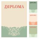 Plantilla del diseño del diploma y del certificado Foto de archivo libre de regalías