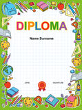 Plantilla del diseño del fondo del certificado del diploma de los niños Imagen de archivo