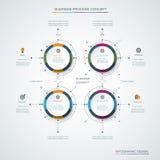 Plantilla del diseño del infographics del vector con diseño e iconos de la etiqueta, 4 opciones o pasos Imagenes de archivo