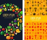 Plantilla del diseño del logotipo de las frutas y verduras comida fresca o el cultivar un huerto, horticultura o icono Ejemplo pl Imagen de archivo
