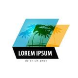 Plantilla del diseño del logotipo de las palmeras viaje o centro turístico Imagen de archivo libre de regalías