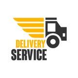 Plantilla del diseño del logotipo del servicio de entrega, ejemplo del vector en un fondo blanco Foto de archivo libre de regalías