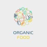 Plantilla del diseño del logotipo del vector con los iconos de la fruta y verdura en estilo linear de moda stock de ilustración