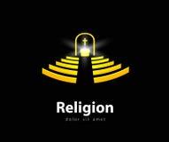 Plantilla del diseño del logotipo del vector de la religión iglesia o ilustración del vector