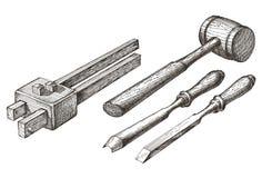 Plantilla del diseño del logotipo del vector de las herramientas cincel, mazo Fotos de archivo libres de regalías