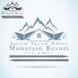 Plantilla del diseño del logotipo del vector del centro turístico de montaña icono del tejado Símbolo de la arquitectura de la co stock de ilustración