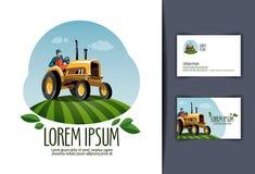Plantilla del diseño del logotipo del vector del tractor cosecha o libre illustration