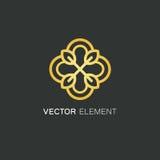 Plantilla del diseño del logotipo del vector y concepto floral del oro en el estilo linear - emblema para la moda, la belleza y l