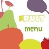 Plantilla del diseño del menú de las frutas Alimento sano Imágenes de archivo libres de regalías